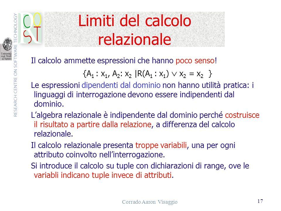 Limiti del calcolo relazionale