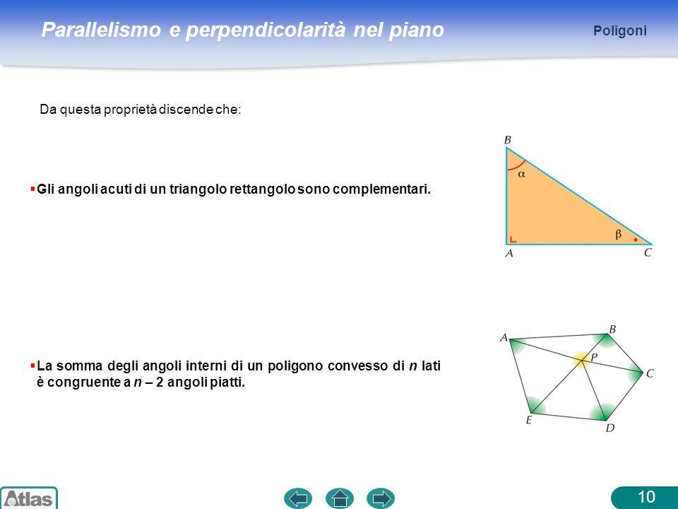 Poligoni Da questa proprietà discende che: Gli angoli acuti di un triangolo rettangolo sono complementari.
