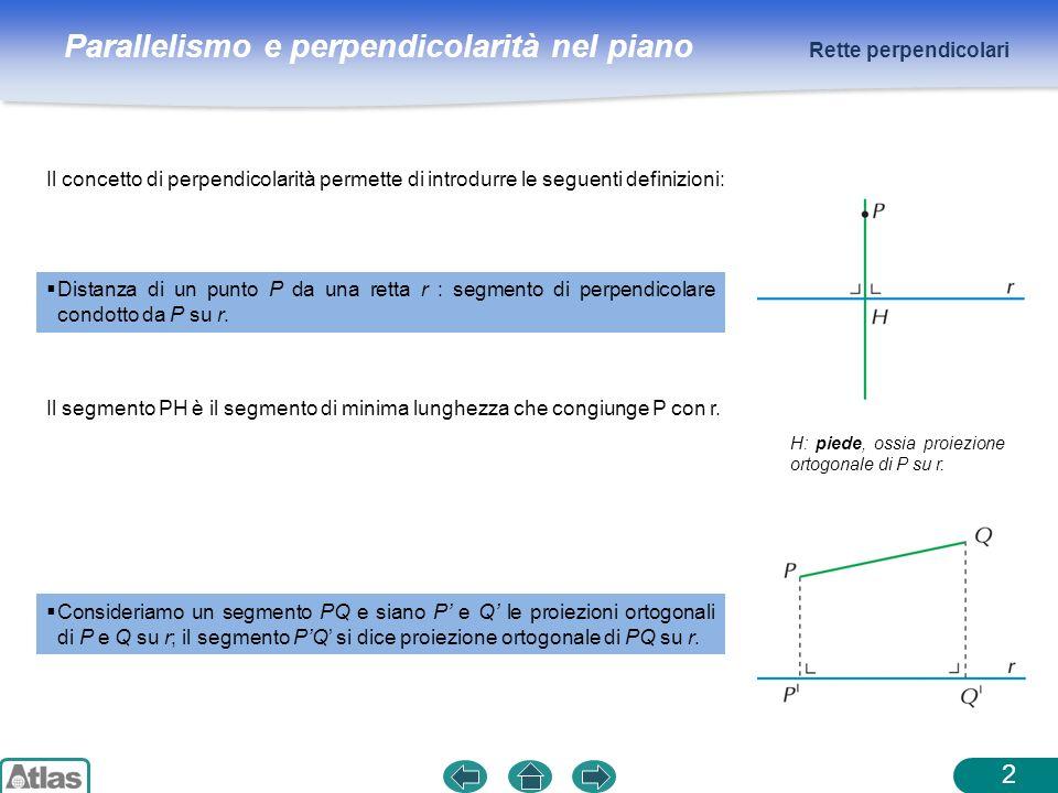 Rette perpendicolari Il concetto di perpendicolarità permette di introdurre le seguenti definizioni: