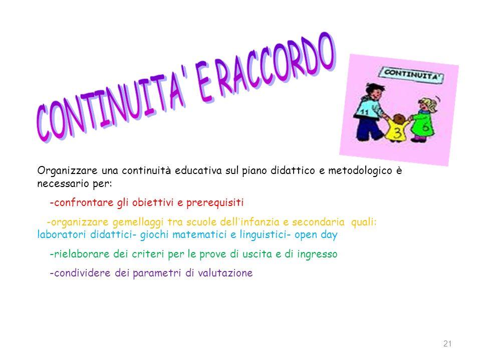 CONTINUITA E RACCORDO Organizzare una continuità educativa sul piano didattico e metodologico è necessario per: