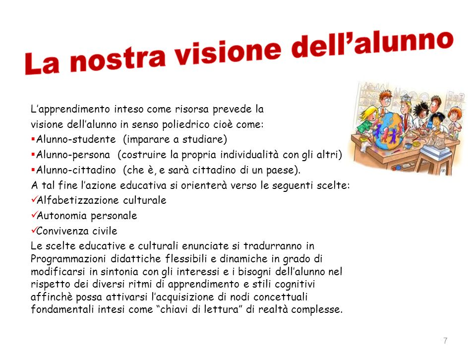 La nostra visione dell'alunno