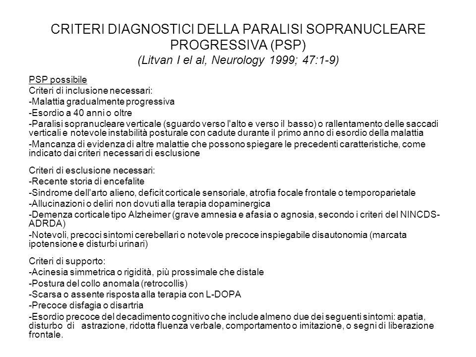 CRITERI DIAGNOSTICI DELLA PARALISI SOPRANUCLEARE PROGRESSIVA (PSP) (Litvan I el al, Neurology 1999; 47:1-9)
