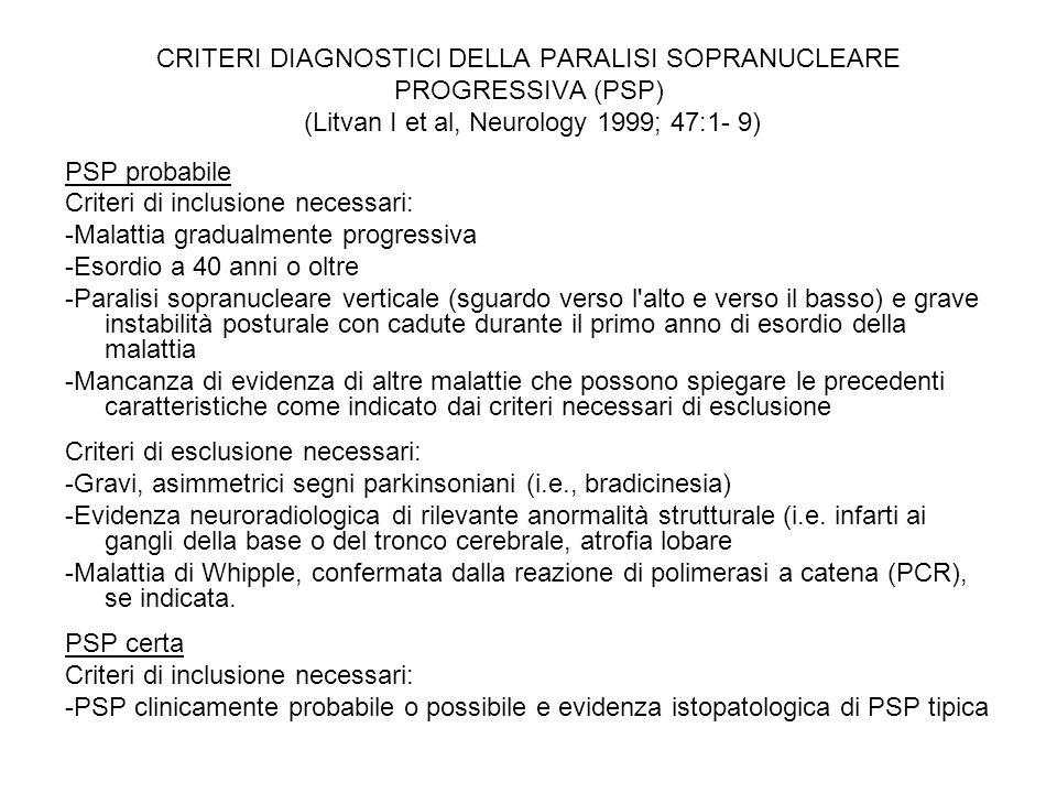 CRITERI DIAGNOSTICI DELLA PARALISI SOPRANUCLEARE PROGRESSIVA (PSP) (Litvan I et al, Neurology 1999; 47:1- 9)