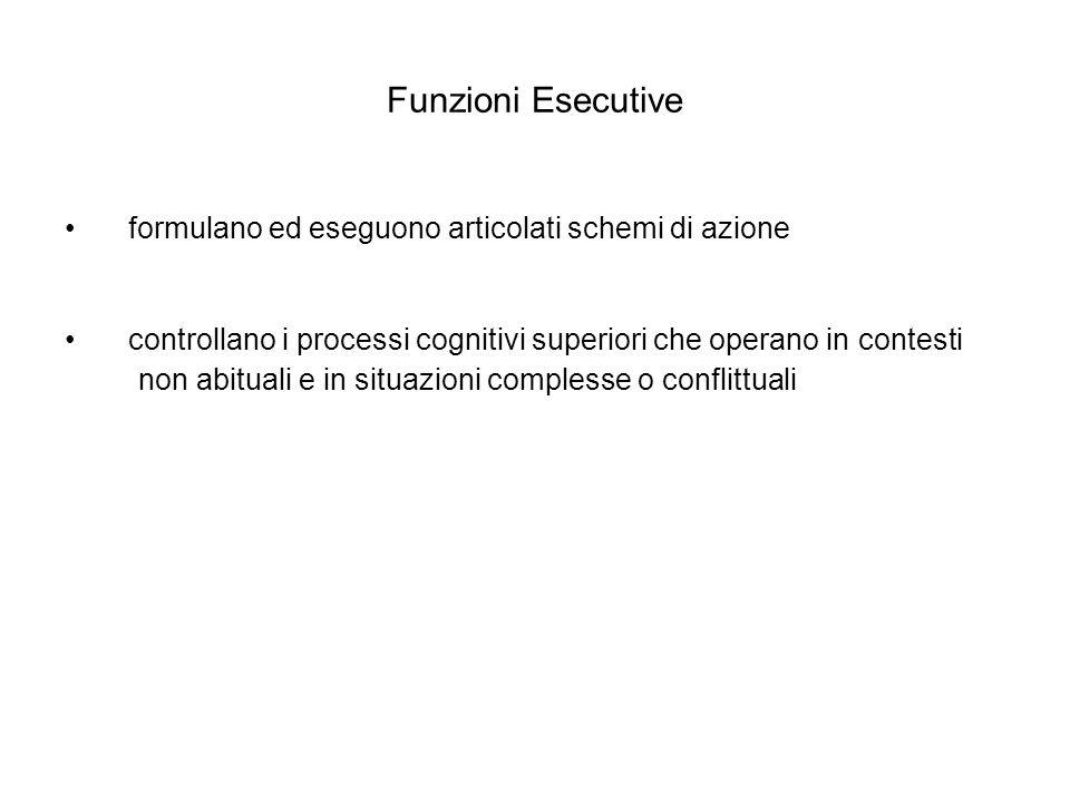 Funzioni Esecutive • formulano ed eseguono articolati schemi di azione
