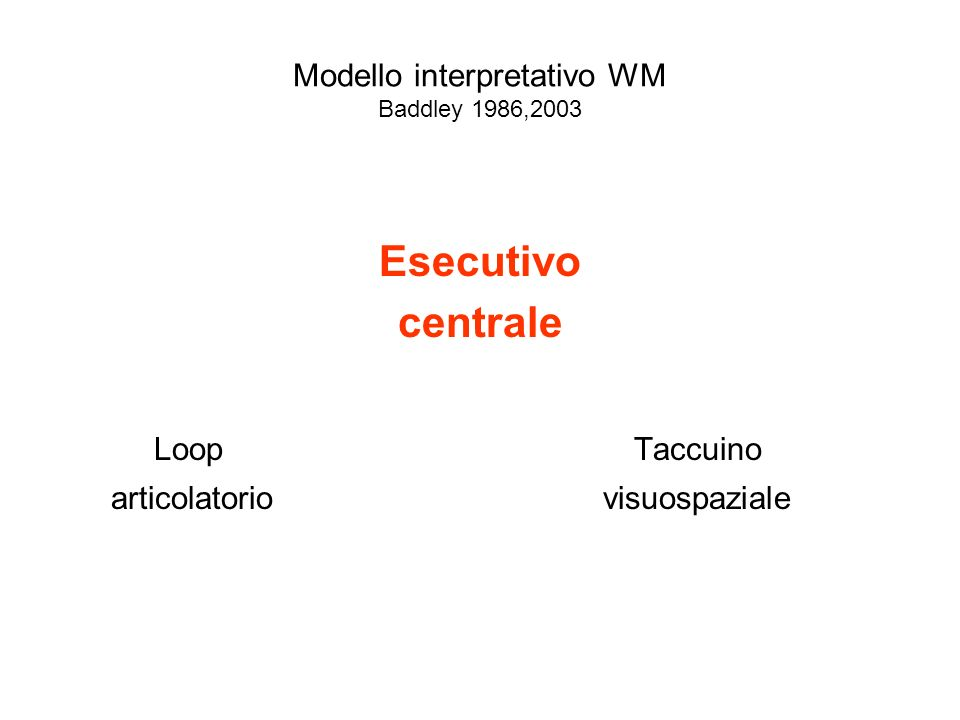 Modello interpretativo WM Baddley 1986,2003