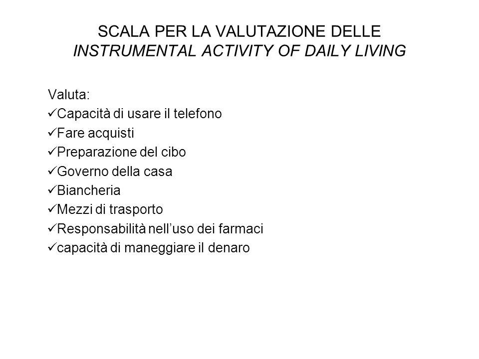 SCALA PER LA VALUTAZIONE DELLE INSTRUMENTAL ACTIVITY OF DAILY LIVING