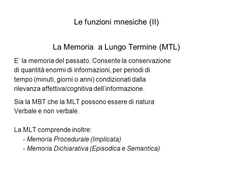 Le funzioni mnesiche (II)