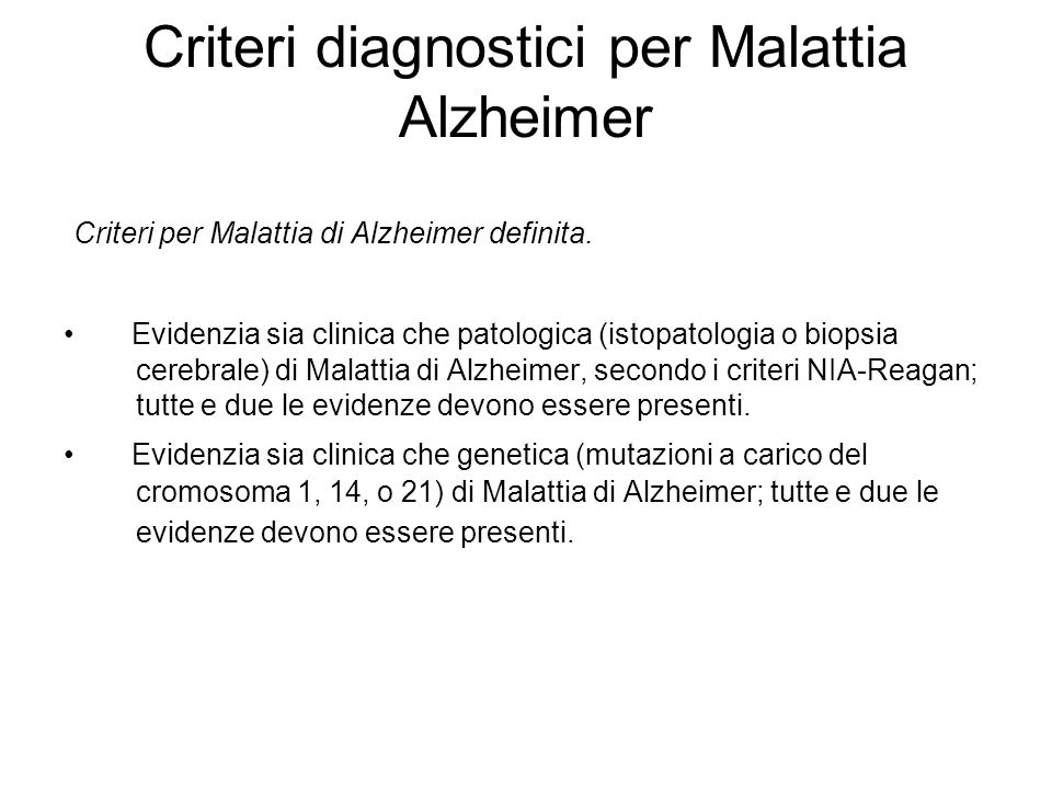 Criteri diagnostici per Malattia Alzheimer