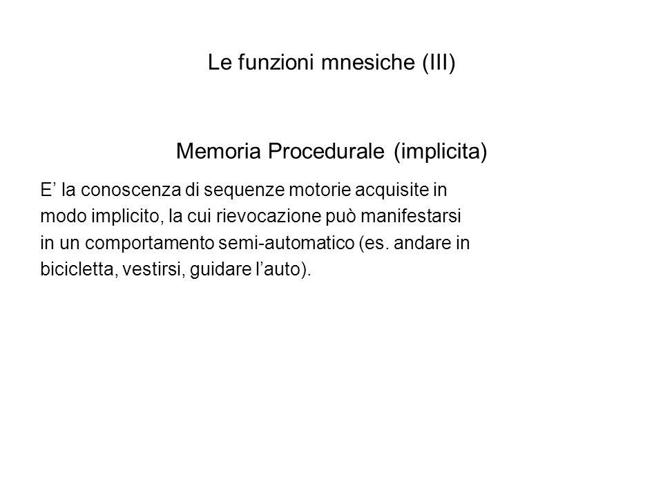 Le funzioni mnesiche (III)