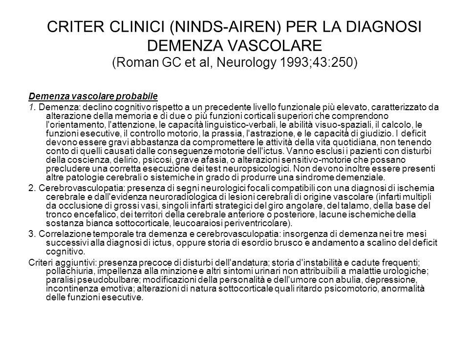 CRITER CLINICI (NINDS-AIREN) PER LA DIAGNOSI DEMENZA VASCOLARE (Roman GC et al, Neurology 1993;43:250)