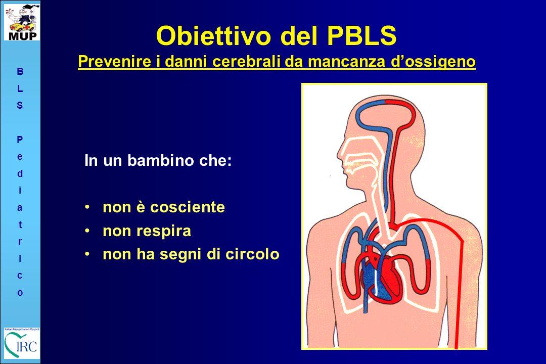 Obiettivo del PBLS Prevenire i danni cerebrali da mancanza d'ossigeno