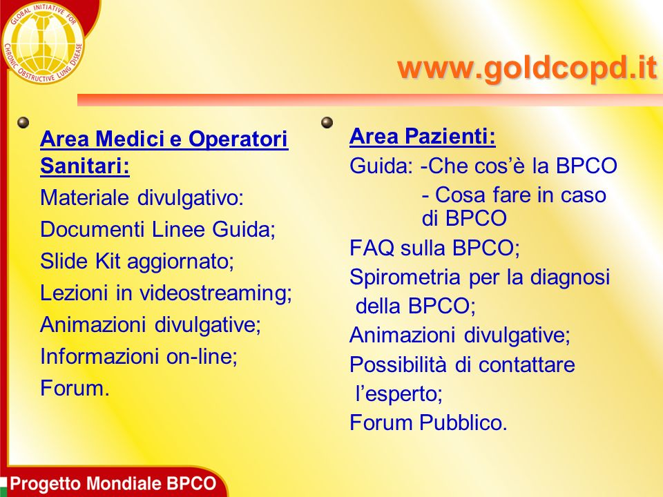 www.goldcopd.it Area Medici e Operatori Sanitari:
