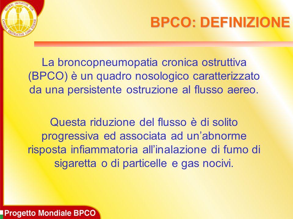 BPCO: DEFINIZIONELa broncopneumopatia cronica ostruttiva (BPCO) è un quadro nosologico caratterizzato da una persistente ostruzione al flusso aereo.