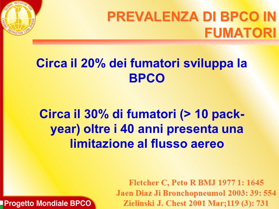 PREVALENZA DI BPCO IN FUMATORI
