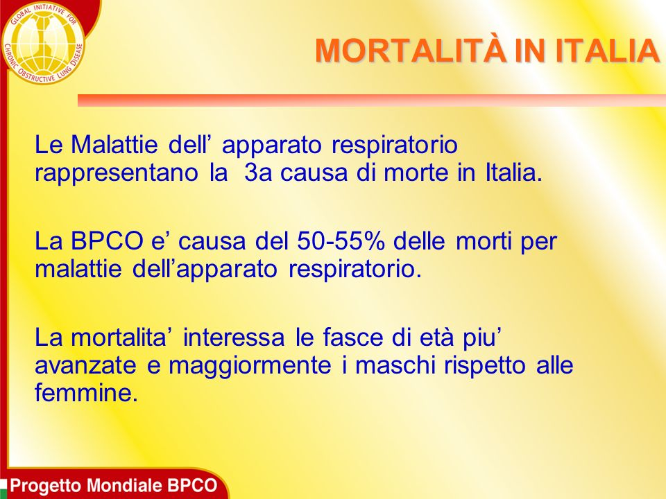 MORTALITÀ IN ITALIALe Malattie dell' apparato respiratorio rappresentano la 3a causa di morte in Italia.