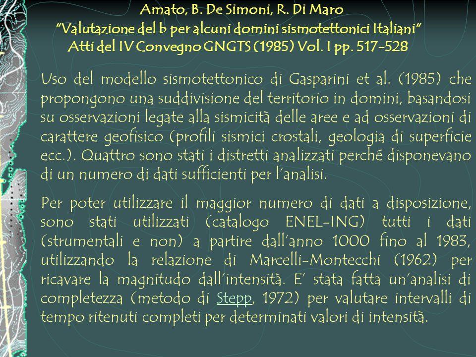 Amato, B. De Simoni, R. Di Maro Valutazione del b per alcuni domini sismotettonici Italiani Atti del IV Convegno GNGTS (1985) Vol. I pp. 517-528