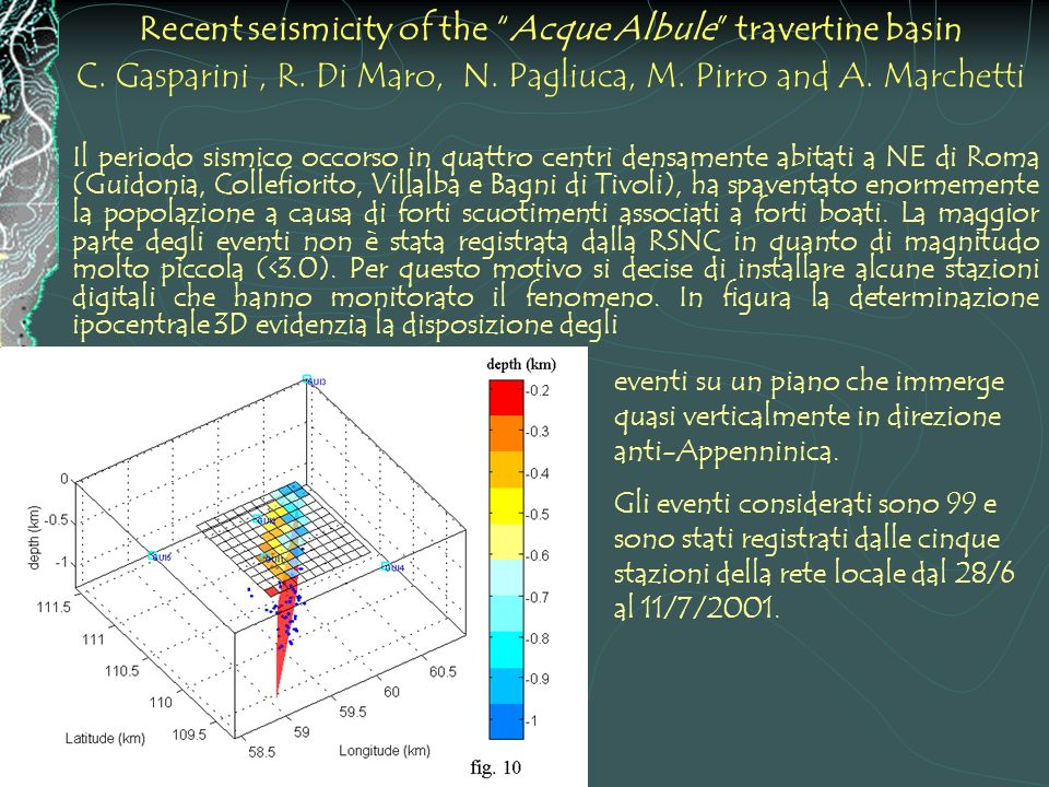 Recent seismicity of the Acque Albule travertine basin C