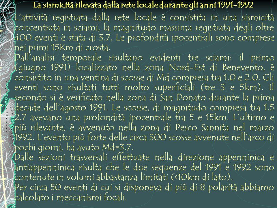 La sismicità rilevata dalla rete locale durante gli anni 1991-1992