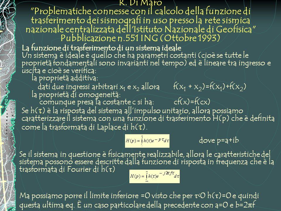 R. Di Maro Problematiche connesse con il calcolo della funzione di trasferimento dei sismografi in uso presso la rete sismica nazionale centralizzata dell Istituto Nazionale di Geofisica Pubblicazione n.551 ING (Ottobre 1993)