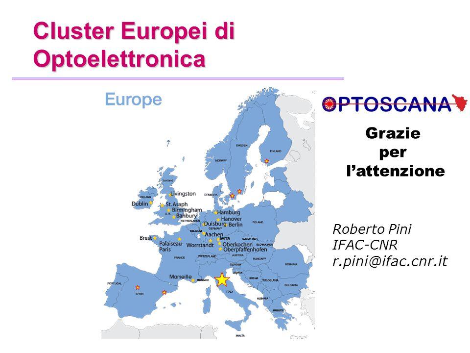 Cluster Europei di Optoelettronica Grazie per l'attenzione