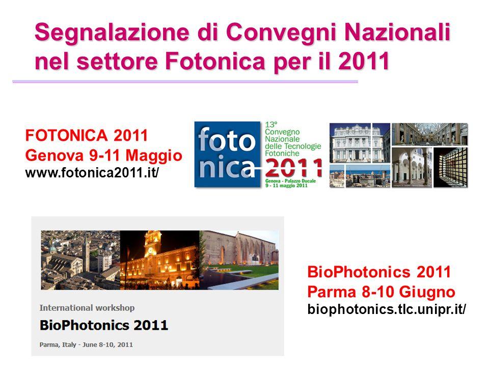 Segnalazione di Convegni Nazionali nel settore Fotonica per il 2011