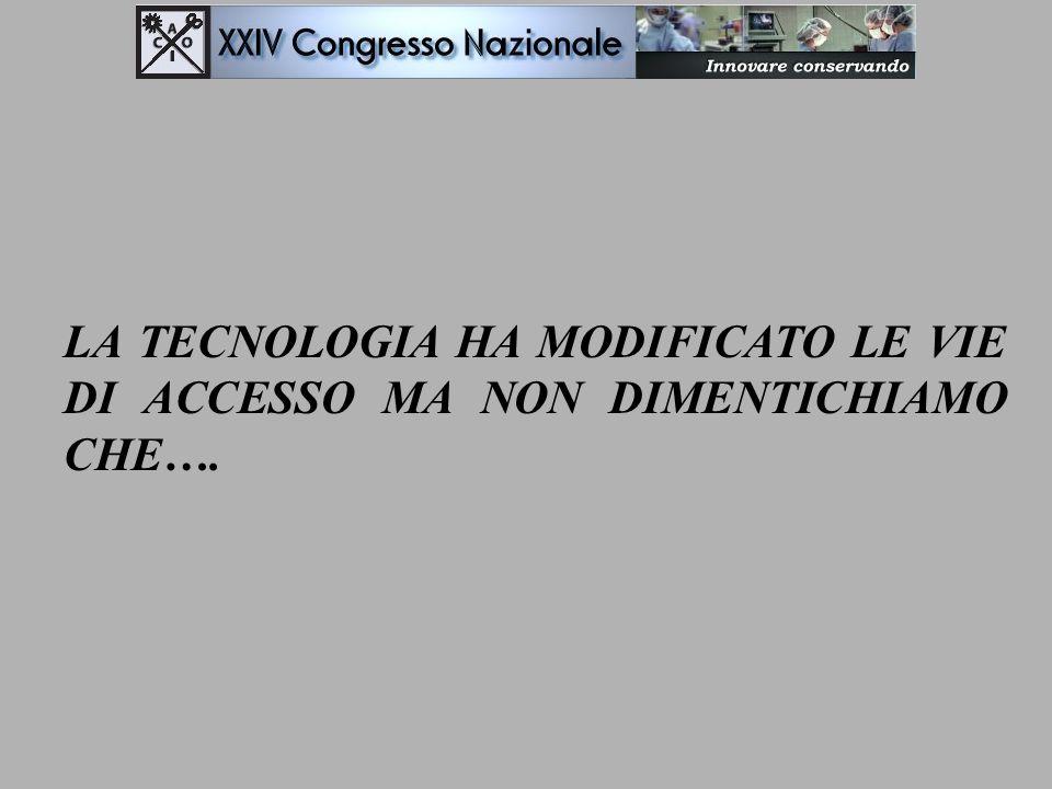 LA TECNOLOGIA HA MODIFICATO LE VIE DI ACCESSO MA NON DIMENTICHIAMO CHE….