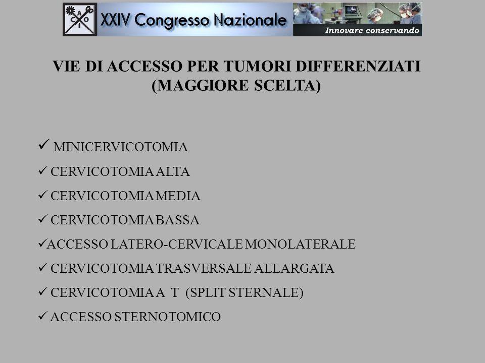VIE DI ACCESSO PER TUMORI DIFFERENZIATI (MAGGIORE SCELTA)