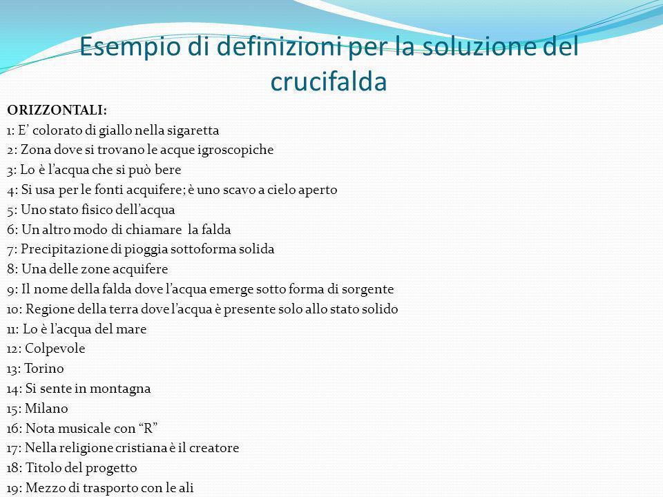 Esempio di definizioni per la soluzione del crucifalda