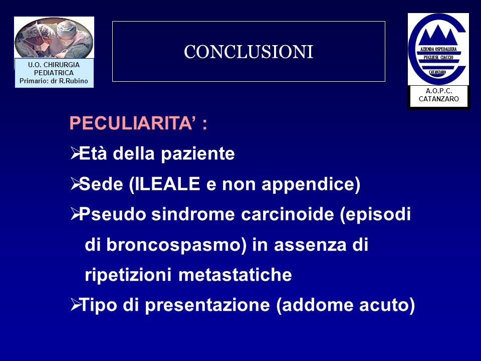 Sede (ILEALE e non appendice) Pseudo sindrome carcinoide (episodi
