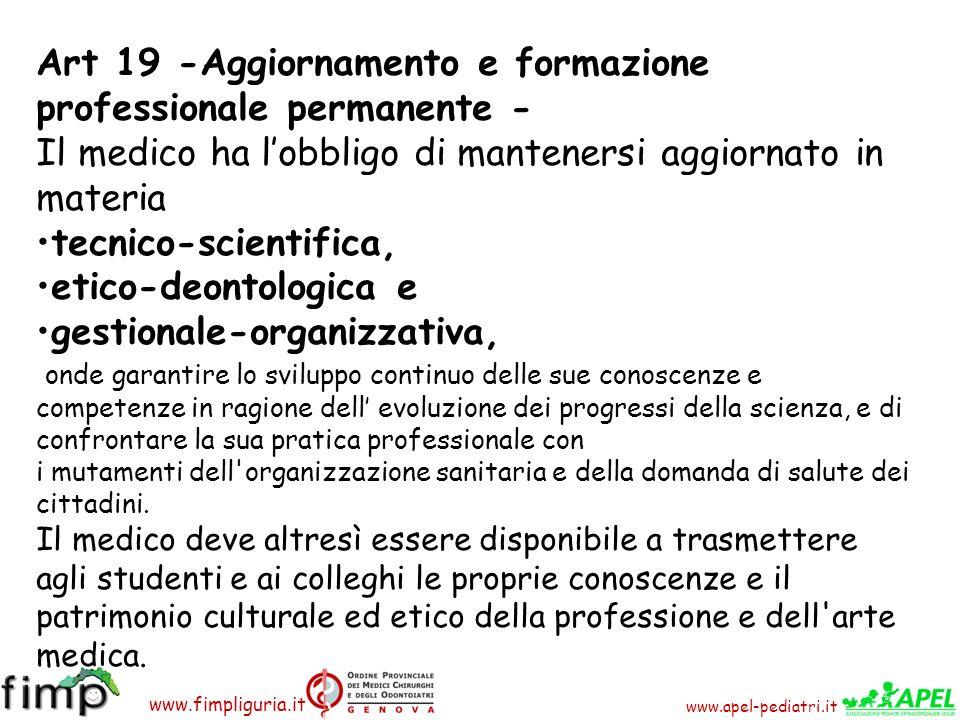 Art 19 -Aggiornamento e formazione professionale permanente -