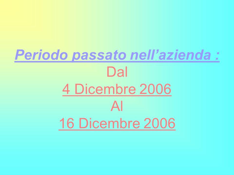 Periodo passato nell'azienda : Dal 4 Dicembre 2006 Al 16 Dicembre 2006