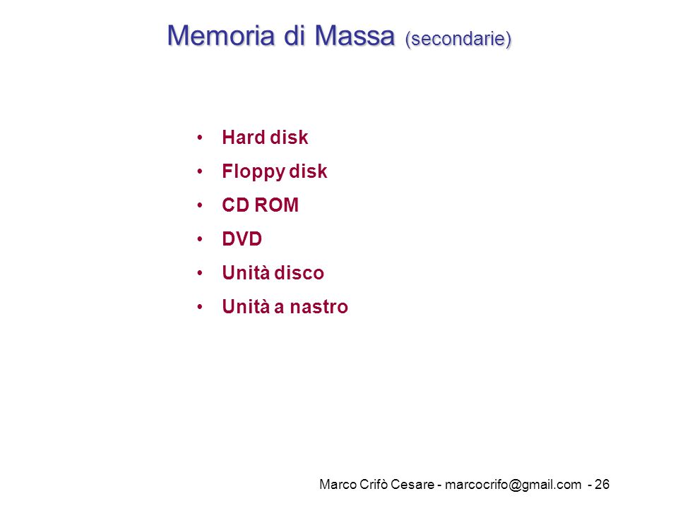 Memoria di Massa (secondarie)