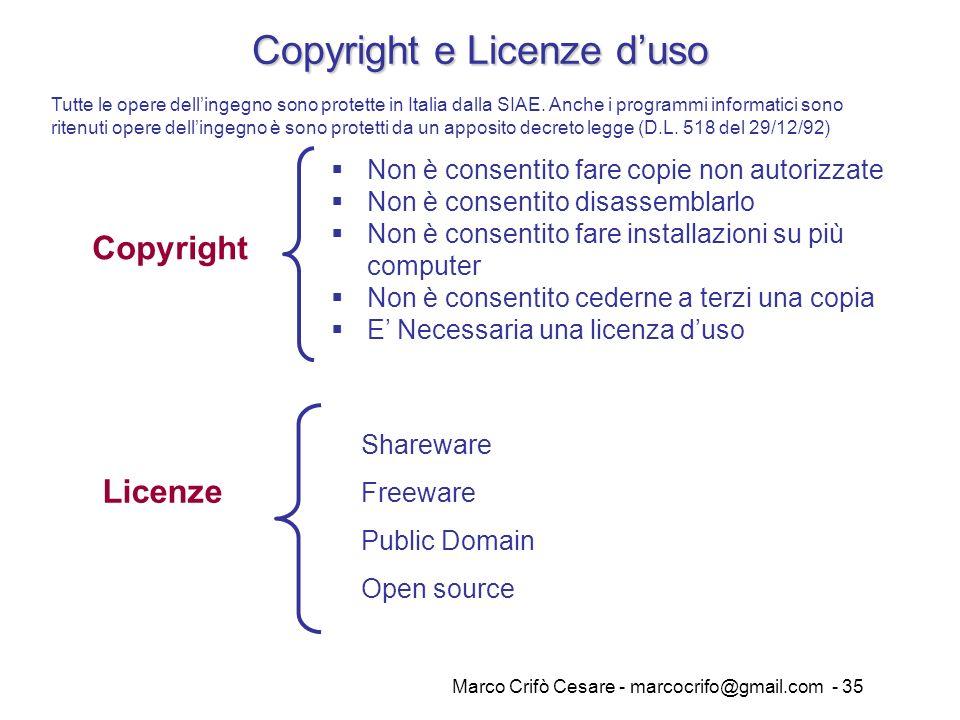 Copyright e Licenze d'uso