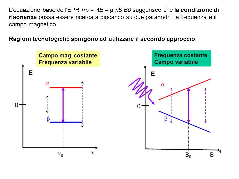 L'equazione base dell'EPR h = E = g B B0 suggerisce che la condizione di risonanza possa essere ricercata giocando su due parametri: la frequenza e il campo magnetico.