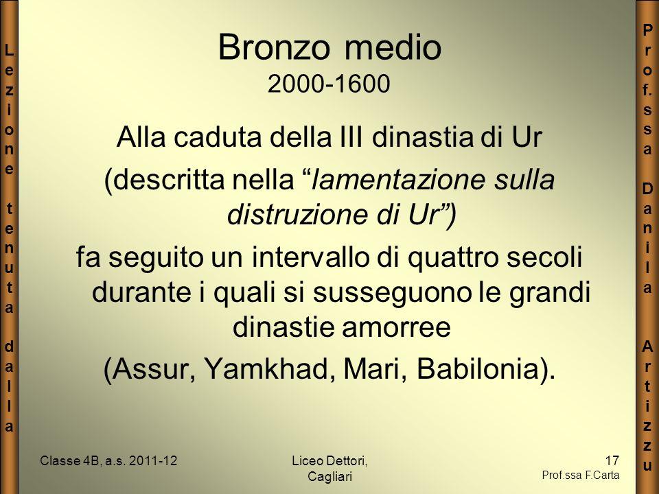 Bronzo medio 2000-1600 Alla caduta della III dinastia di Ur
