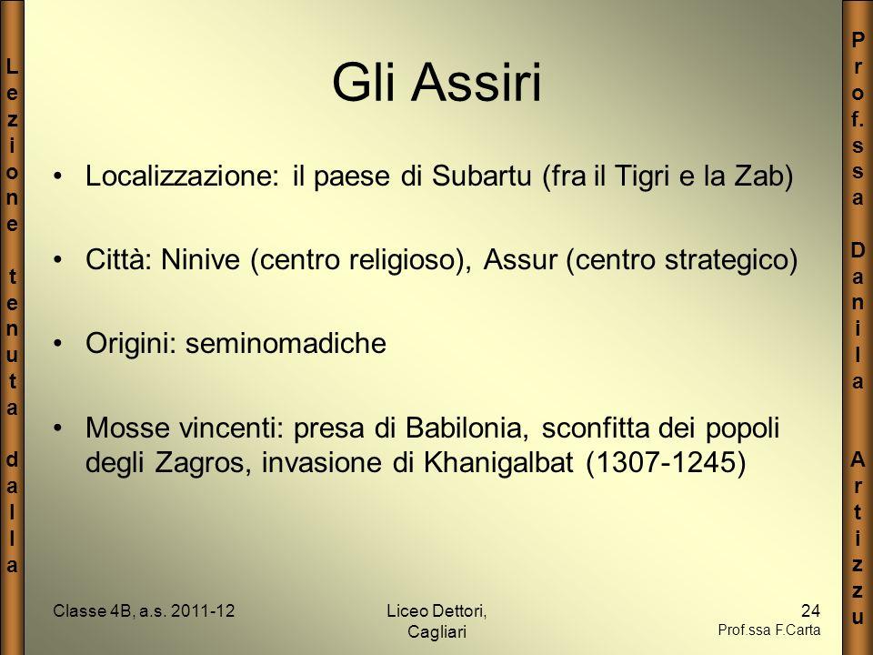 Gli Assiri Localizzazione: il paese di Subartu (fra il Tigri e la Zab)