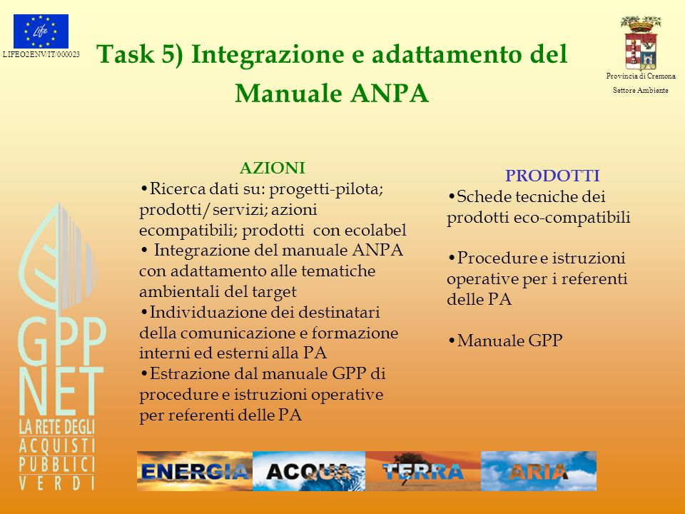Task 5) Integrazione e adattamento del