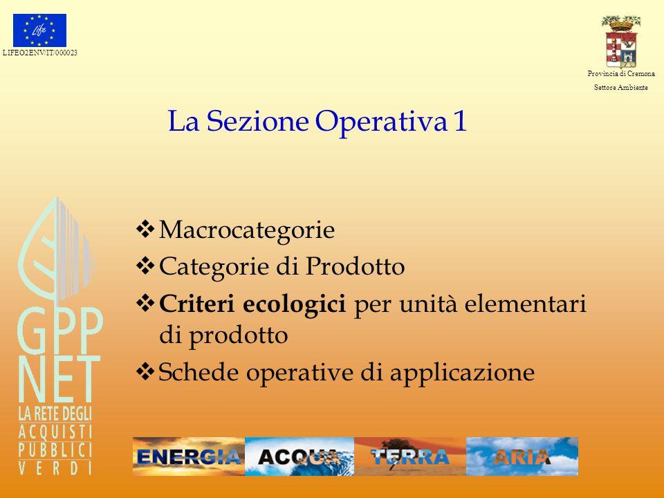 La Sezione Operativa 1 Macrocategorie Categorie di Prodotto