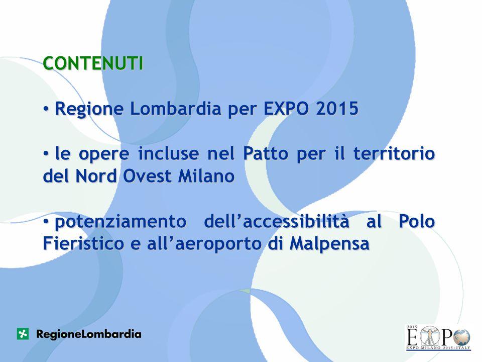 CONTENUTI Regione Lombardia per EXPO 2015. le opere incluse nel Patto per il territorio del Nord Ovest Milano.