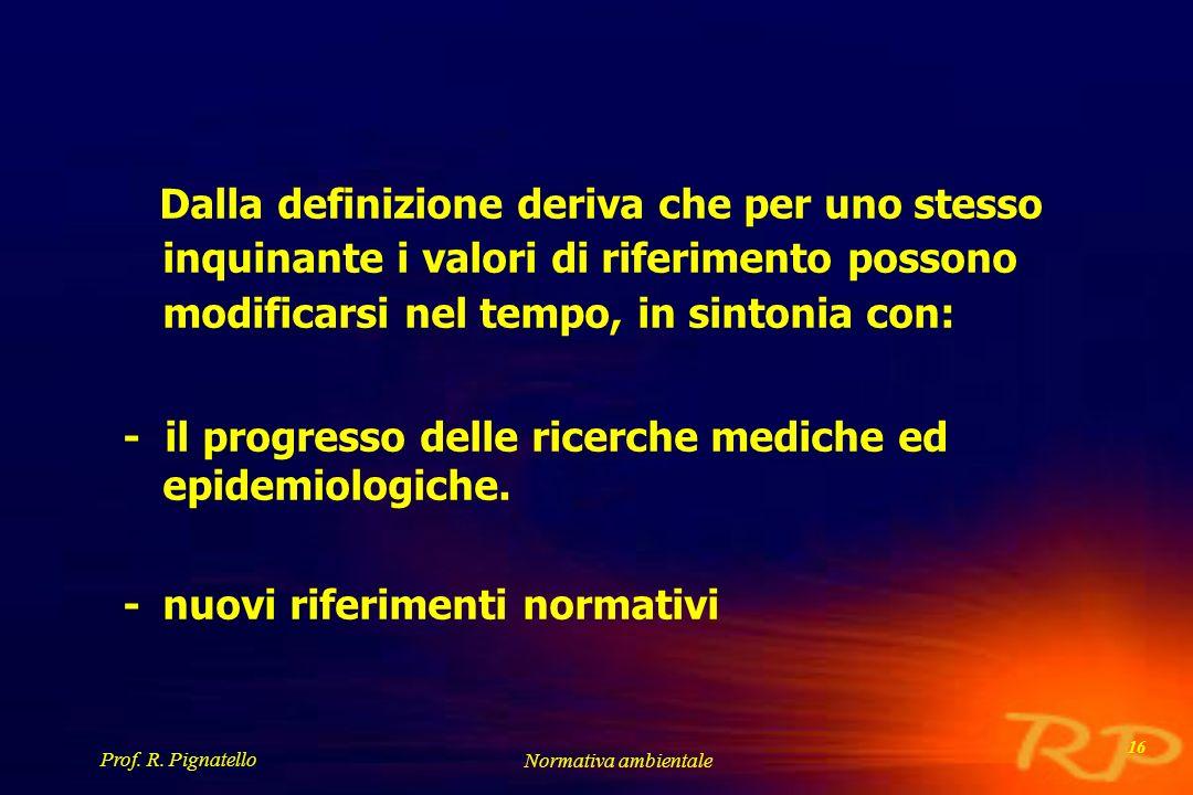 - il progresso delle ricerche mediche ed epidemiologiche.