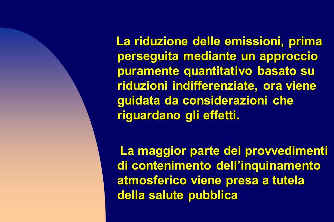 La riduzione delle emissioni, prima perseguita mediante un approccio puramente quantitativo basato su riduzioni indifferenziate, ora viene guidata da considerazioni che riguardano gli effetti.