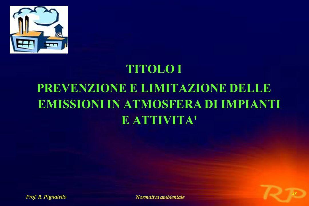 TITOLO I PREVENZIONE E LIMITAZIONE DELLE EMISSIONI IN ATMOSFERA DI IMPIANTI E ATTIVITA Prof. R. Pignatello.