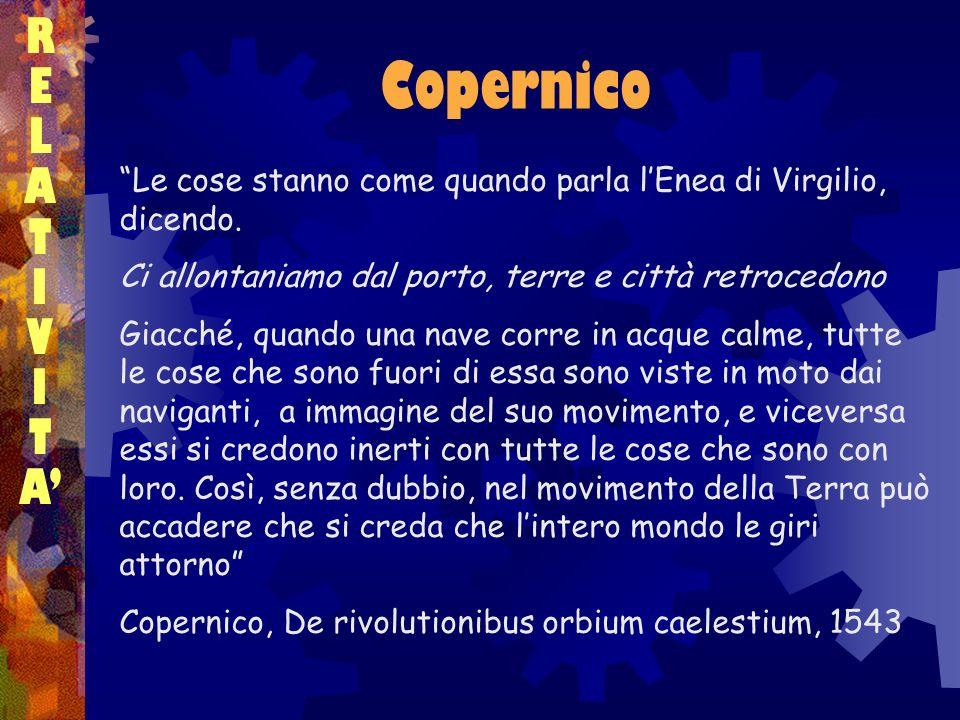 R E. L. A. T. I. V. A' Copernico. Le cose stanno come quando parla l'Enea di Virgilio, dicendo.