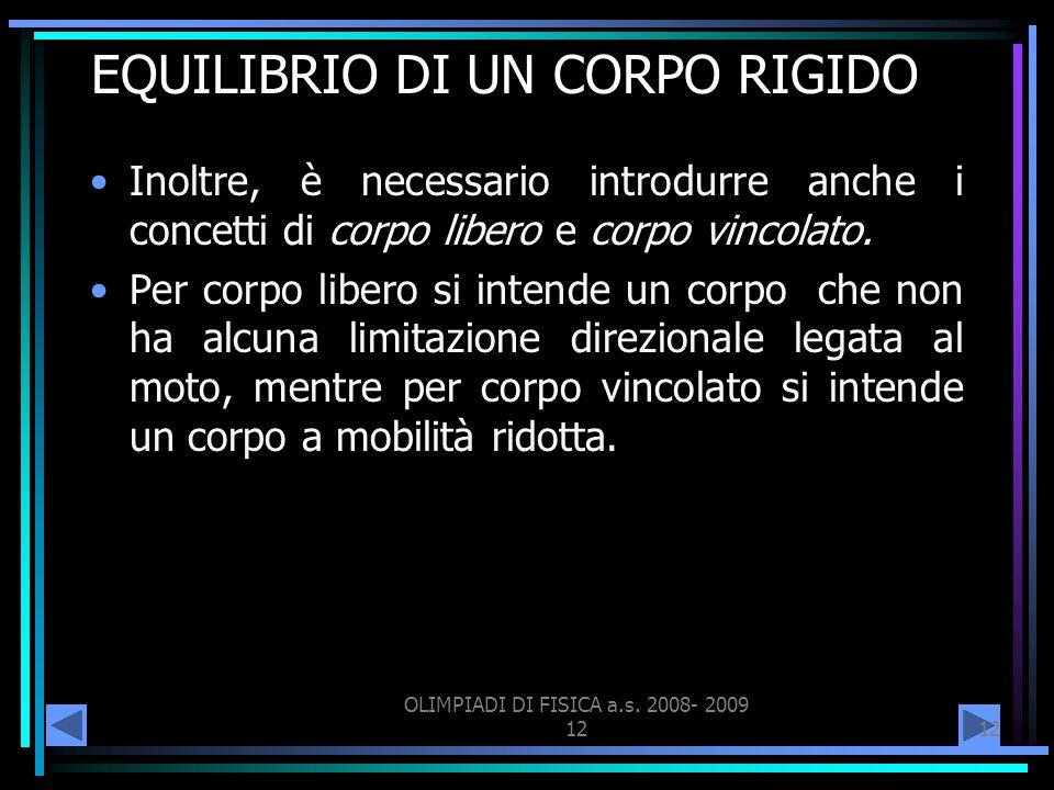 EQUILIBRIO DI UN CORPO RIGIDO