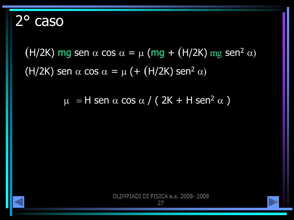 2° caso (H/2K) mg sen a cos a = m (mg + (H/2K) mg sen2 a)