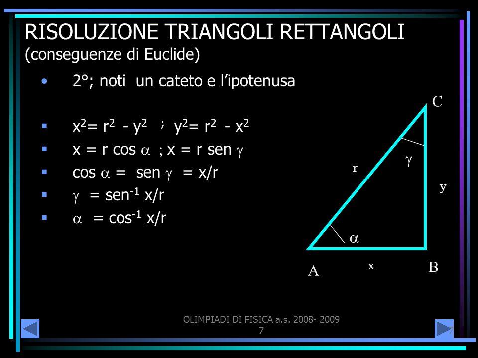 RISOLUZIONE TRIANGOLI RETTANGOLI (conseguenze di Euclide)