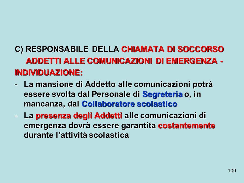 C) RESPONSABILE DELLA CHIAMATA DI SOCCORSO