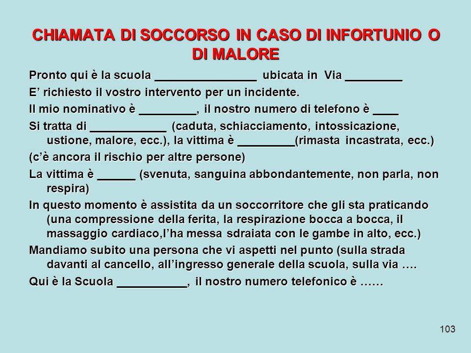 CHIAMATA DI SOCCORSO IN CASO DI INFORTUNIO O DI MALORE