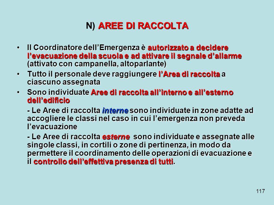 N) AREE DI RACCOLTA