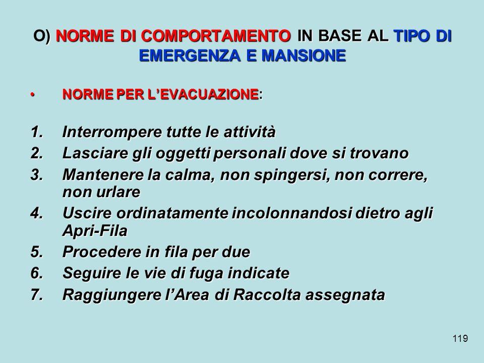 O) NORME DI COMPORTAMENTO IN BASE AL TIPO DI EMERGENZA E MANSIONE